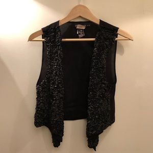 Antik Batik silk and leather vest